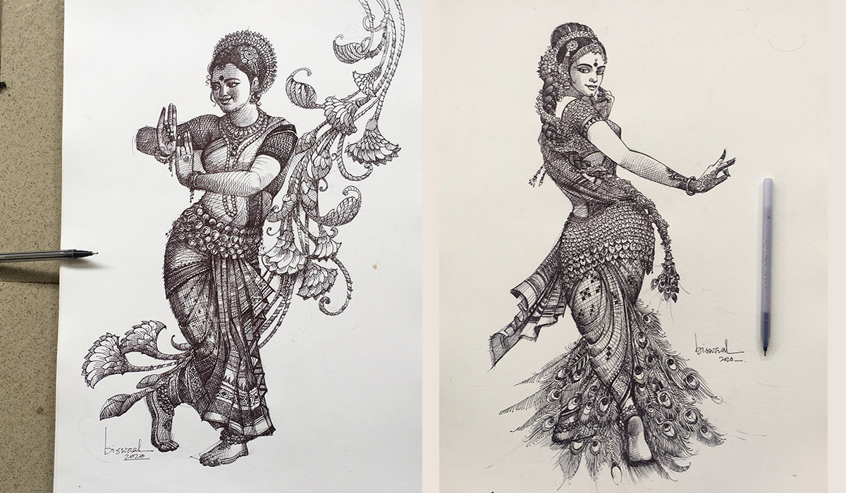 pen art by artist bijay biswaal